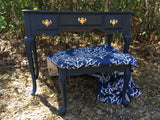 Navy Vanity with Drop Down Mirror & Stool