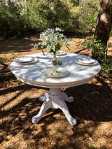 "Shabby Chic/Coastal ""Swirling White"" 42"" Oak Pedestal Table"