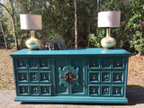 REDUCED! Turquoise Hollywood Regency Console, Buffet, or Dresser