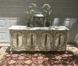 Antiqued White Vintage French Console/Buffet/Dresser