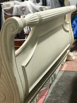 Oversized Antique White King Sleigh Bed