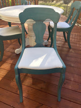 Shabby Chic Pedestal Table & 4 Turquoise Chairs Set