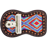 Beaded Show Comb Holder and Number Holder Muti-Color Diamond-Weaver Leather Livestock-Ludlow Livestock Supply