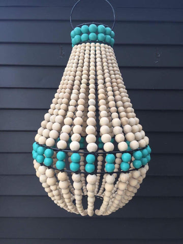 Chandelier Beaded - Natural & Blue