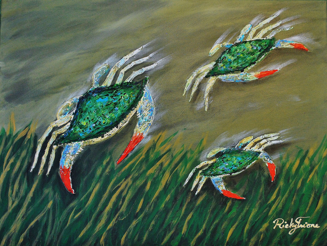 Crabs Swimming by Ricky Trione  Canvas Prints, Gallery Wrapped