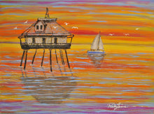 """Mobile Middle Bay Lighthouse and Sailboat"" by Ricky Trione on Canvas"