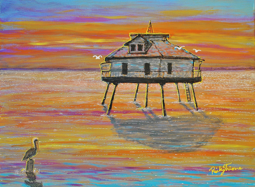 Mobile Middle Bay Lighthouse with Pelican by Ricky Trione Printed on  Canvas