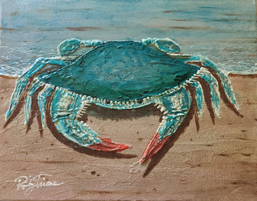 Blue Crab on Beach  by Ricky Trione,  Printed on Canvas Sizes:       12