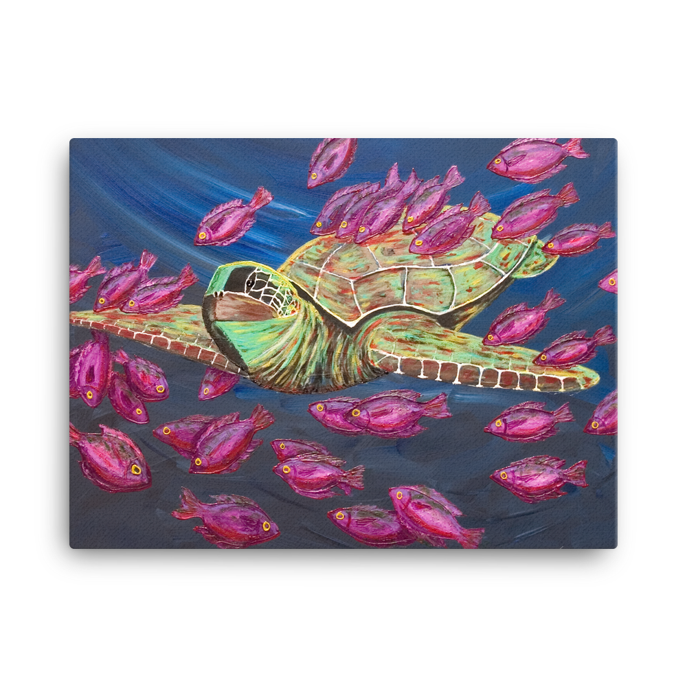 Sea Turtle by Ricky Trione  (Printed on Canvas)