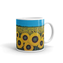 """Jacy's Sunflowers""  by Ricky Trione, printed on quality mugs."