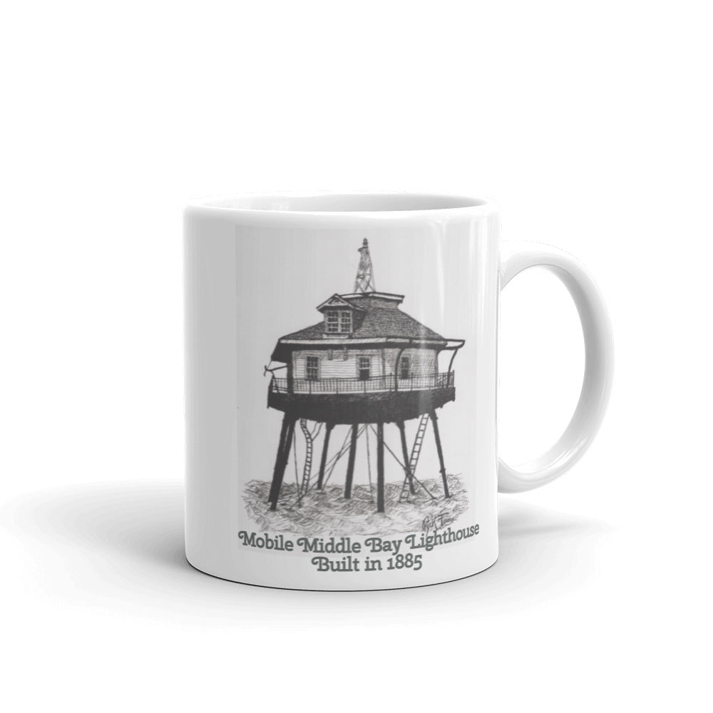 Mobile Middle Bay Lighthouse by Ricky Trione (Printed on Quality Mugs)