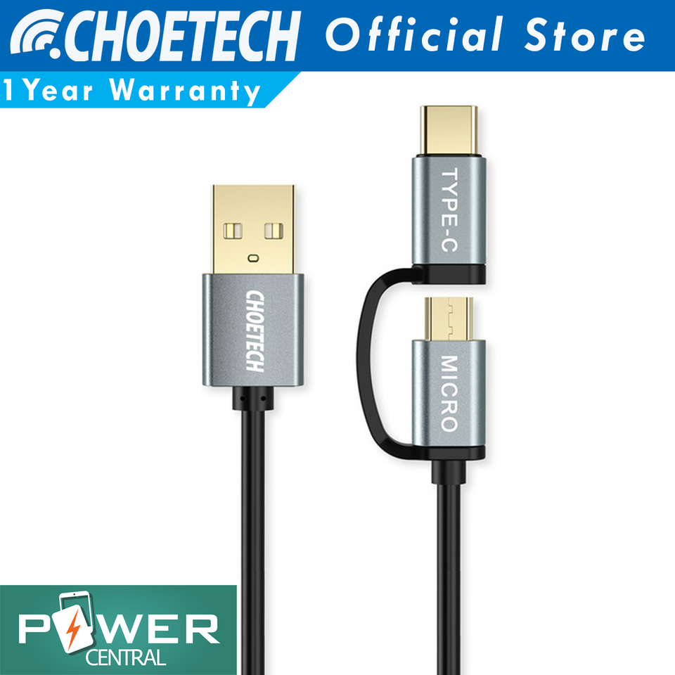 Choetech 2 in 1 Micro USB/USB C to USB A 3.3ft Cable Fast