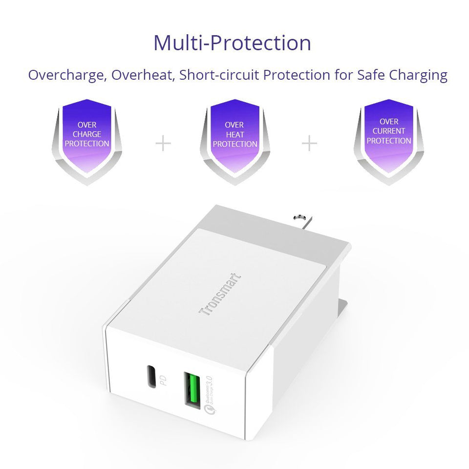 Tronsmart W2DT USB PD & Quick Charge 3.0 Wall Charger 48W