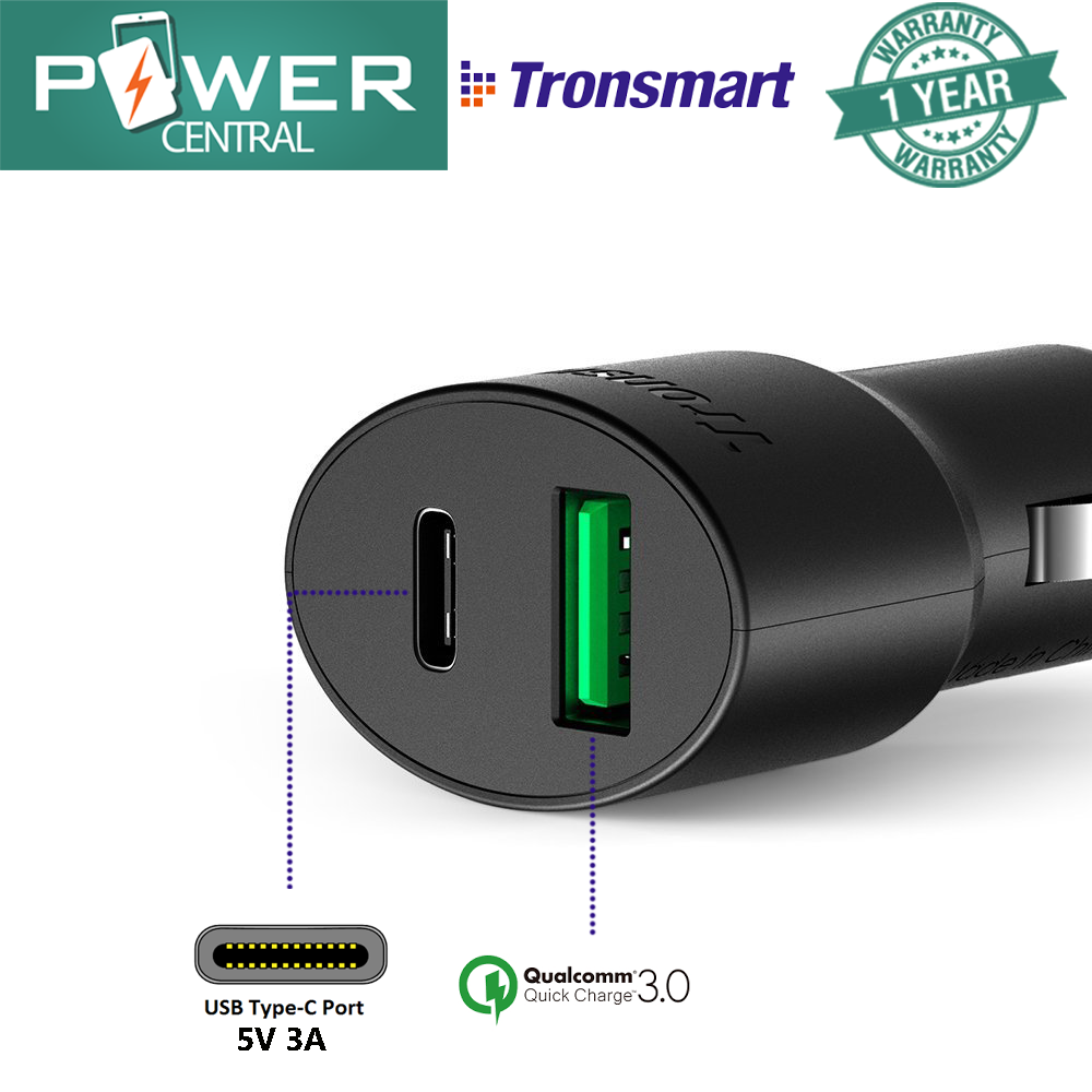 Tronsmart C2PTU Dual USB Car Charger with Type-C rapid charging 5v/3A and USB Quick Charge 3.0