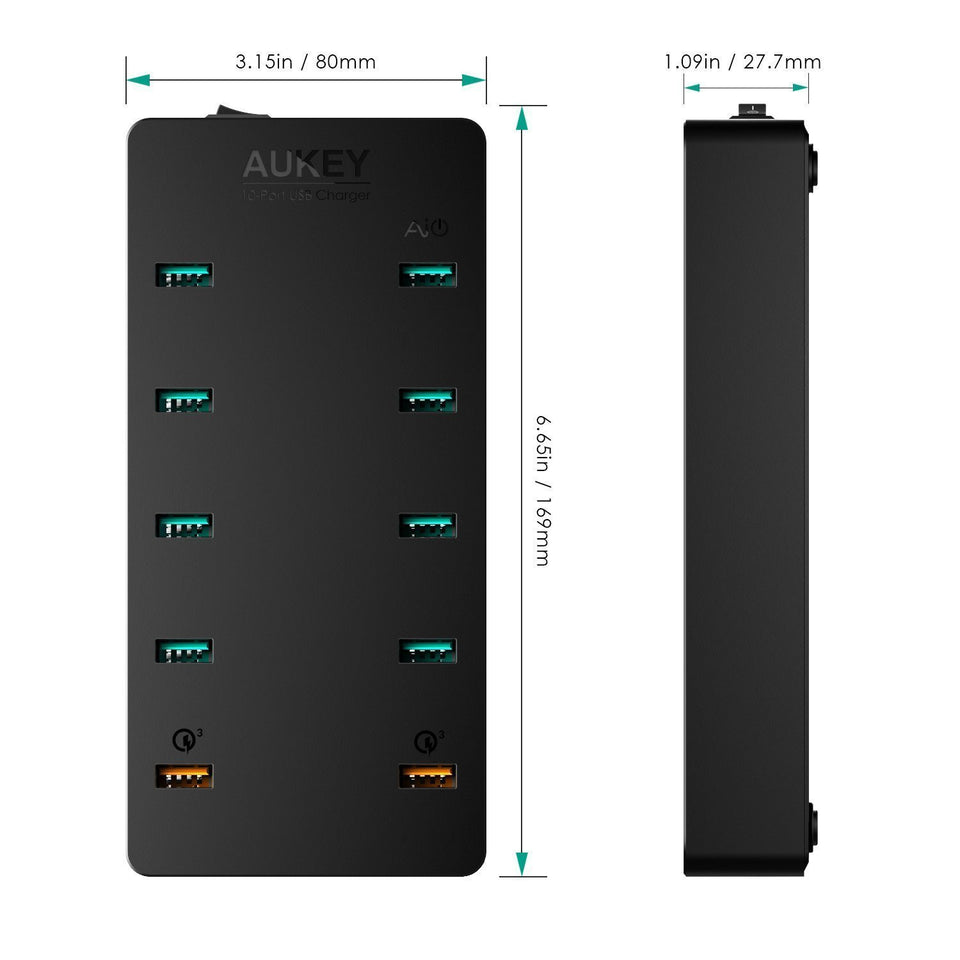 AUKEY PA-T8 10-Port USB Charging Station with Dual Quick Charge 3.0