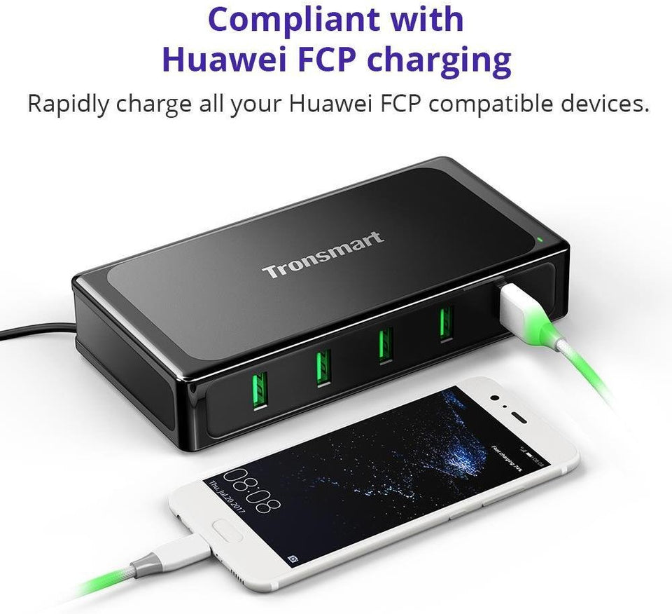 Tronsmart 90W U5TF Titan Plus 5 Ports USB Charger with Quick Charge 3.0 & VoltiQ for All iOS & Android Devices