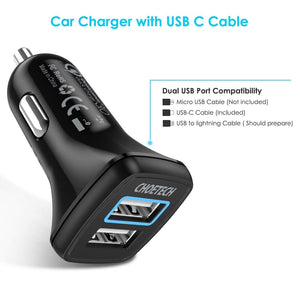 Choetech Quick Charge 3.0 Car Charger and 5V2.4A w LED light Free Micro USB or USB C