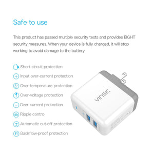 Vinsic 2 Port USB Wall Charger 5V4.8A for Fast Charge iPhone iPad Charging VSCW208W