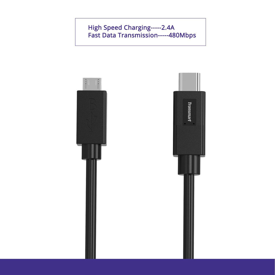 Tronsmart CC08 USB-C Type C to Micro USB Data Cable 3.3ft