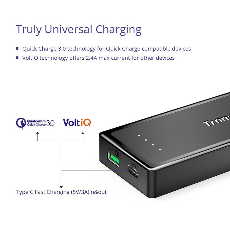Tronsmart PBT12-B  Presto 10400mAh Type-C Power Bank with Quick Charge 3.0
