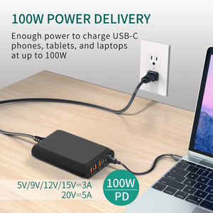 Technoamp 100W 2x USB C PD3.0 PPS 100W Quick Charge 4.0 & 3 Port Quick Charge 3.0 WCTC100