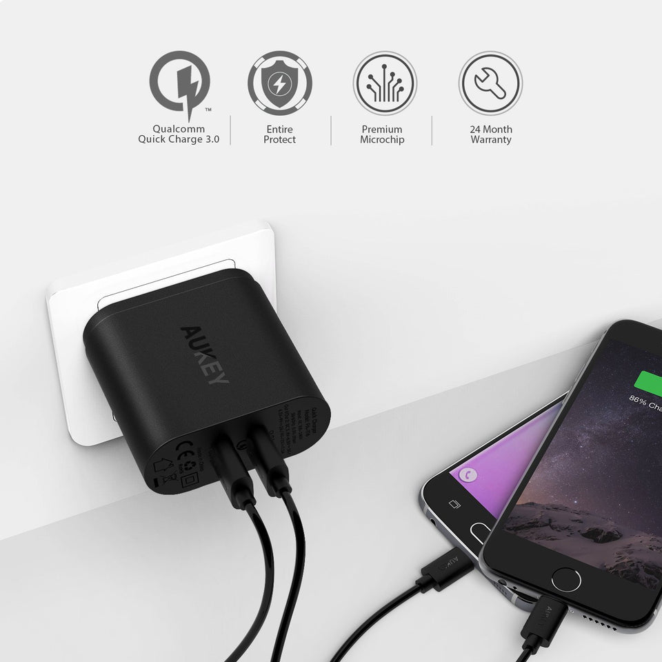 AUKEY Dual Quick Charge 3.0 Wall Charger PA-T16
