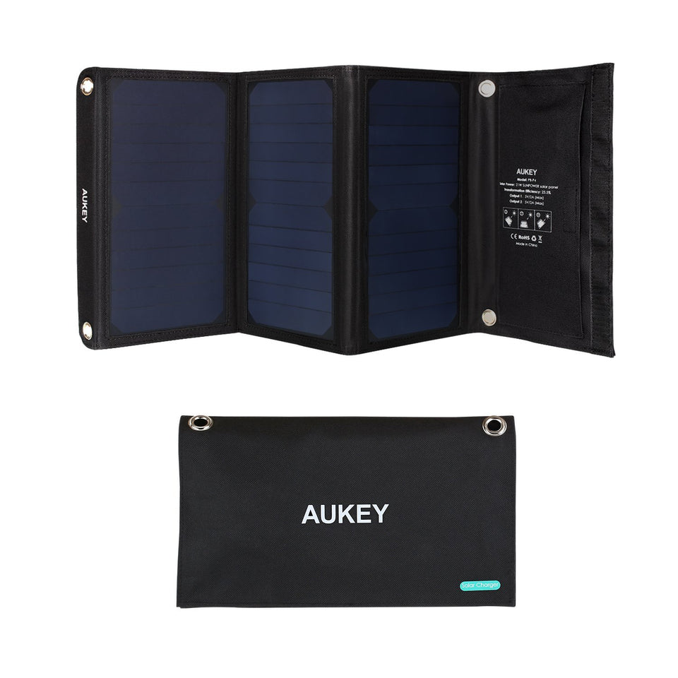 AUKEY 21W Solar Charger with SunPower Solar Panels, Stand, 2 USB Ports for Smartphones