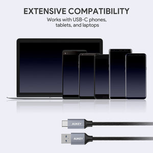 AUKEY USB C Cable 3.3ft Braided [3 Pack] USB3.0 Fast Charge