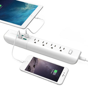 AUKEY Power Strip with 4 USB Ports and 4 Outlets & 5ft Power Cord for Smartphone, Laptop, Tablet, Lamp and More - White