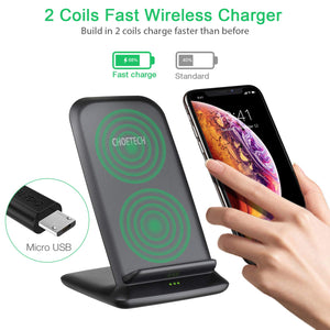 Choetech Fast Wireless Charger Charging Stand 10W 7.5W for Samsung iPhone