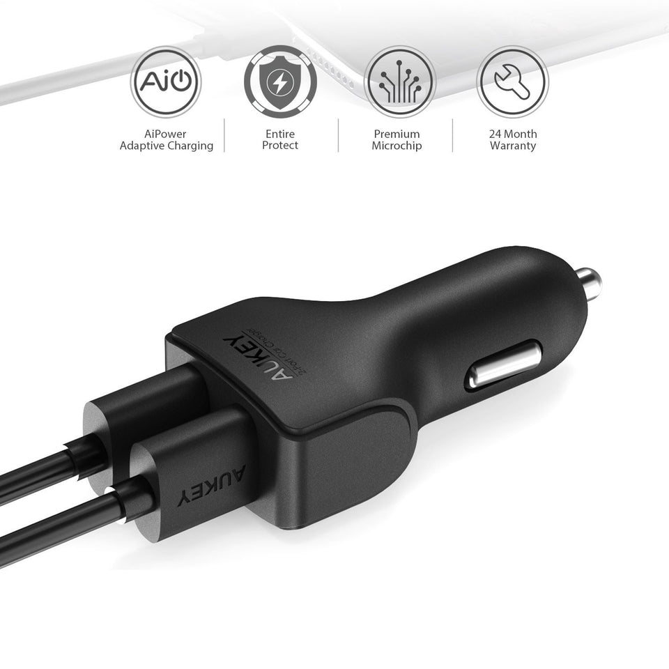 Aukey CC-S3 2 Port Car Charger 24W for iPhone 7/7 Plus