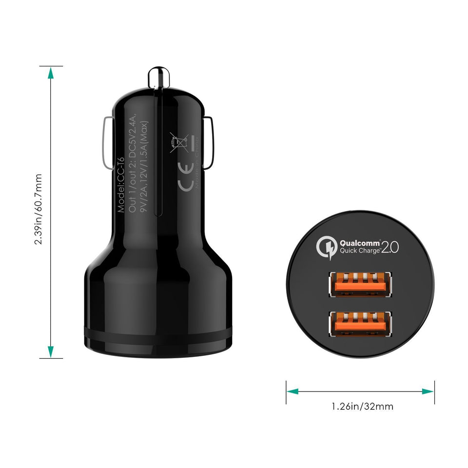 Aukey CC-T6 Car Charger with Dual Quick Charge 2.0