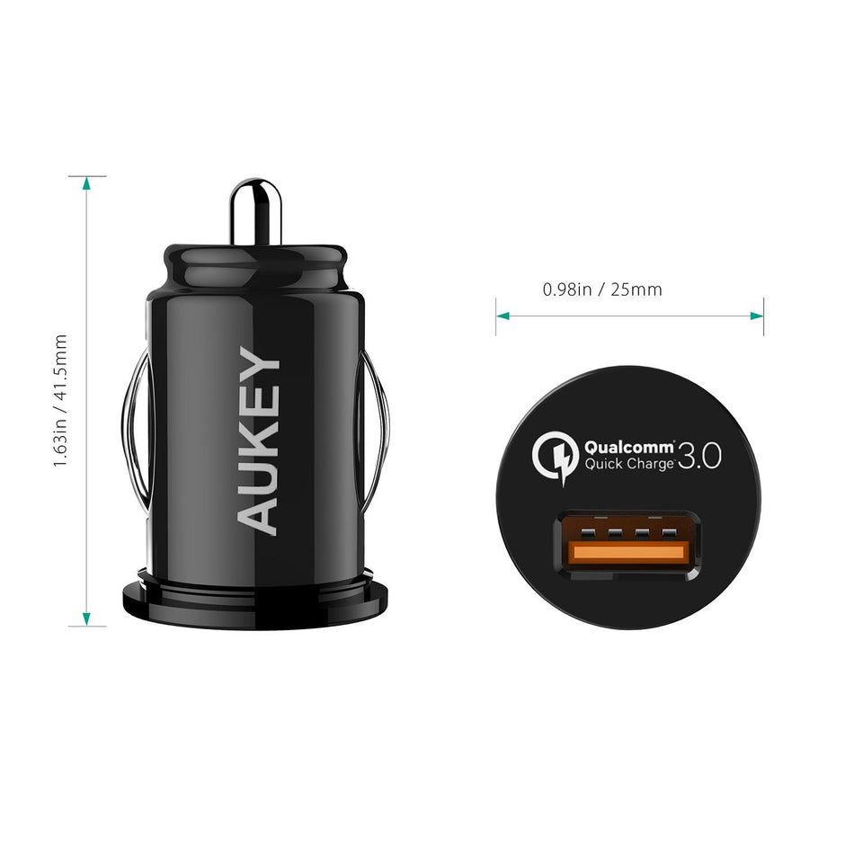 Aukey CC-T13 Car Charger, Flush Fit Quick Charge 3.0
