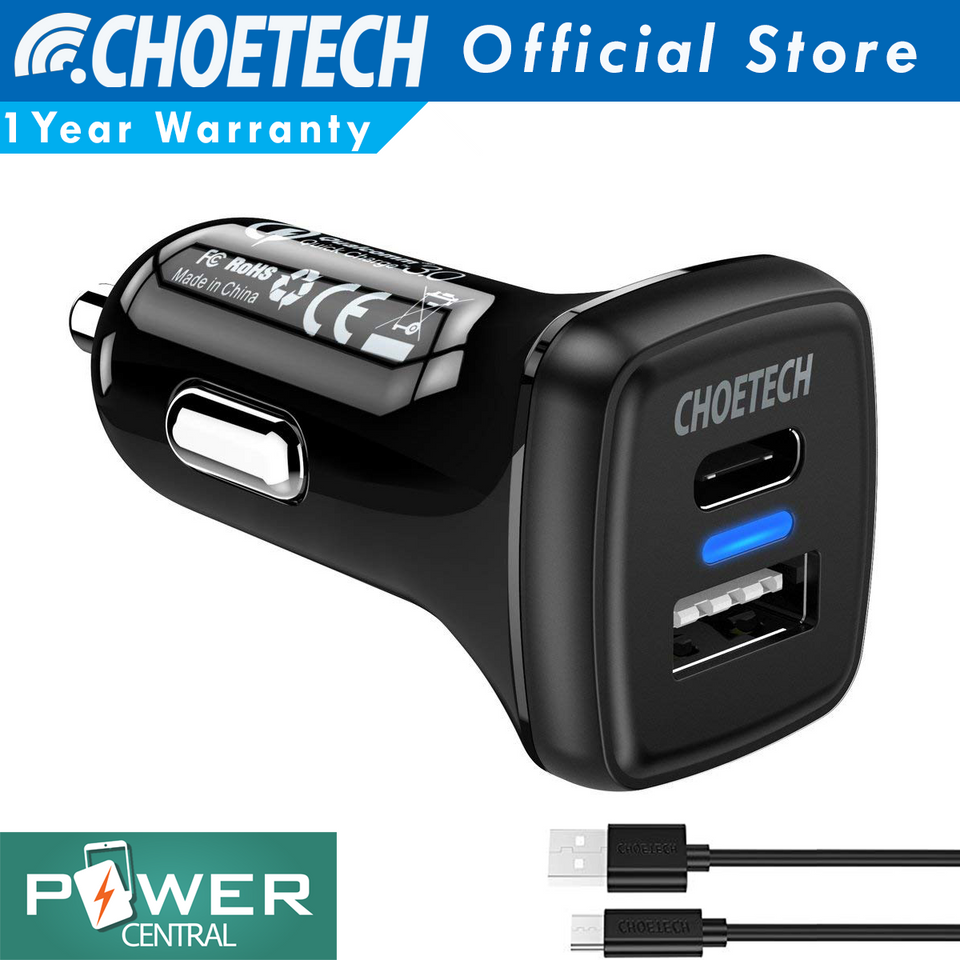 Choetech Quick Charge 3.0 & USB PD 18 watts Car Charger Fast Free Micro USB Cable 3.3ft or USB C