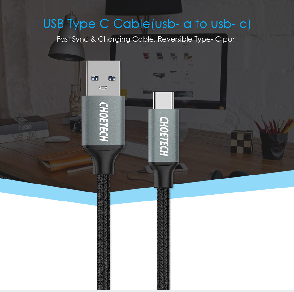 Choetech USB Type C Braided USB3.0 Cable 0.5M/1.0M/2.0M fast