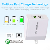 TechnoAmp WC2QC3  2 port Quick charge 3.0huawei fcp and 5v2.4a adaptive charging wall charger