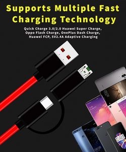 Technoamp 2 In 1 Micro Type C VOOC DASH, Huawei Super Charge, Quick Charge 3.0 Compatible Cable 25cm