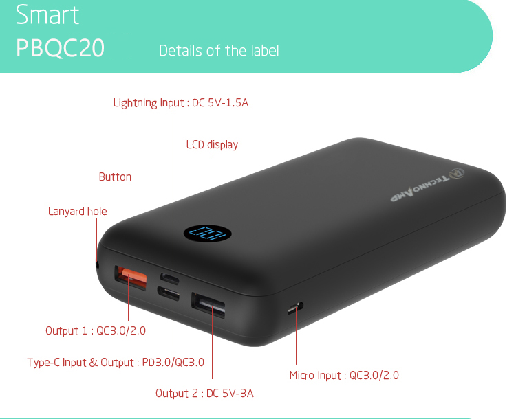 Technoamp 20000mAh PDQC20 PowerBank Quick Charge 3.0 USB C PD 3.0 18w Power Delivery power bank