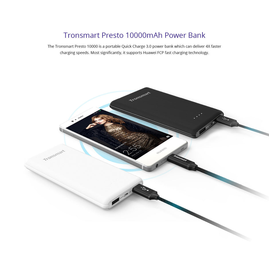 Tronsmart PBT10 10000mAh Powerbank w/ Quick Charge 3.0 and Huawei FCP