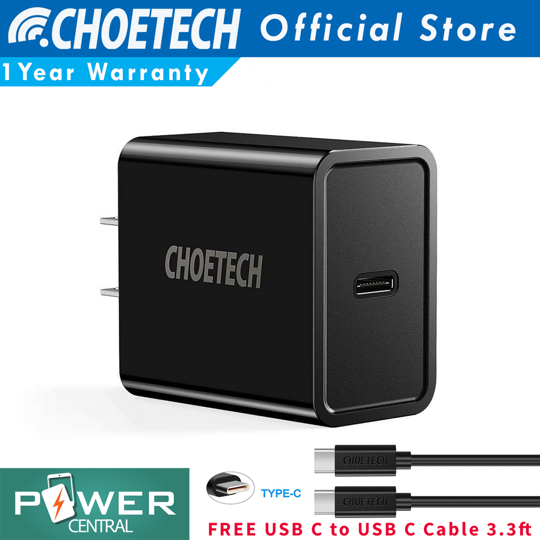 Choetech USB C Power Delivery PD 18W QC3.0 Wall Charger