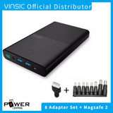 Vinsic 30000mAh Notebook Power Bank 19V4.5A DC and 2 USB Charging Port