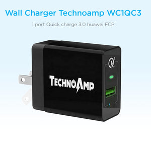 Technoamp WC1QC3 1 port Quick charge 3.0 huawei FCP wall charger