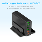 Technoamp WC6QC3 6 port 2 Quick charge 3.0 and 4 5v2.4a 60watts Charging Station