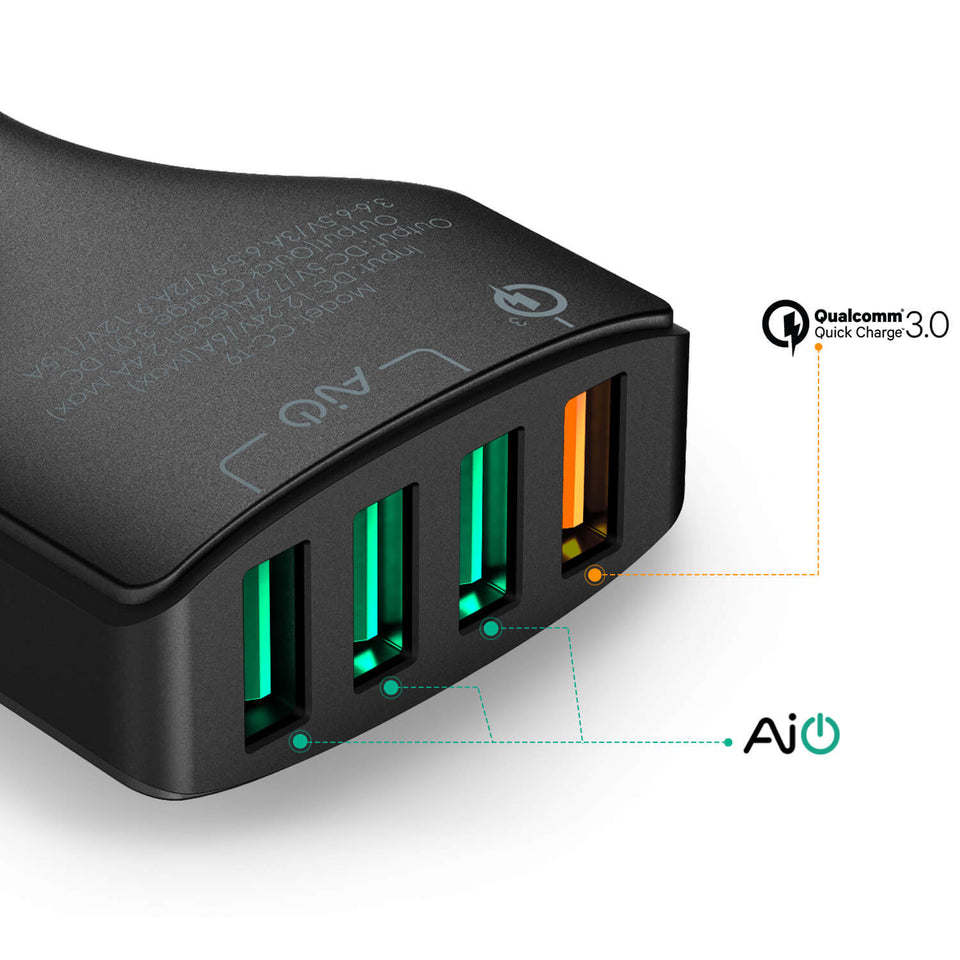 AUKEY CC-T9 Quad Port Car Charger Car Charger with Quick Charge 3.0