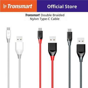 Tronsmart 3ft/1m USB 2.0 To USB Type-C Cable Sync & Charging Cable (Gray, Red, White)
