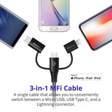 Tronsmart LAC10 Apple MFi 4ft/1.2m 3 in 1 Lightning + Type C + Micro USB to USB A Cable for Phones, Tablets