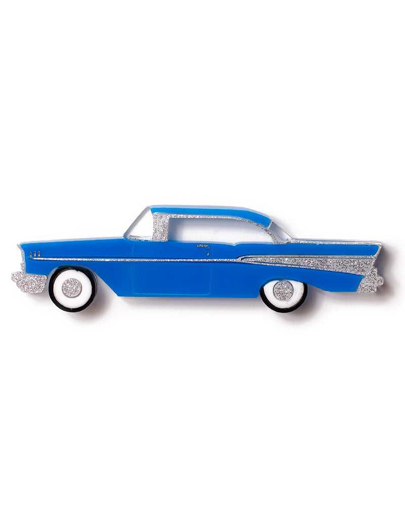 Martinis and Slippers Brooch - 57 Chev Blue