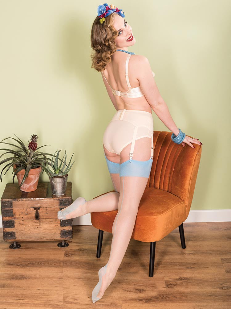What Katie Did Seamed Glamour Stockings-Sky
