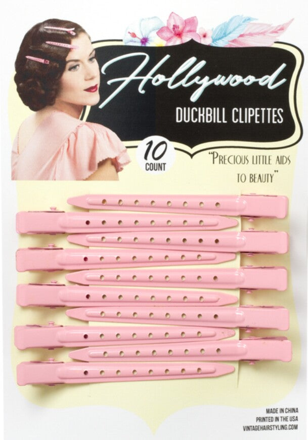 Vintage Hairstyling Hollywood Duckbill Clipettes - Pink