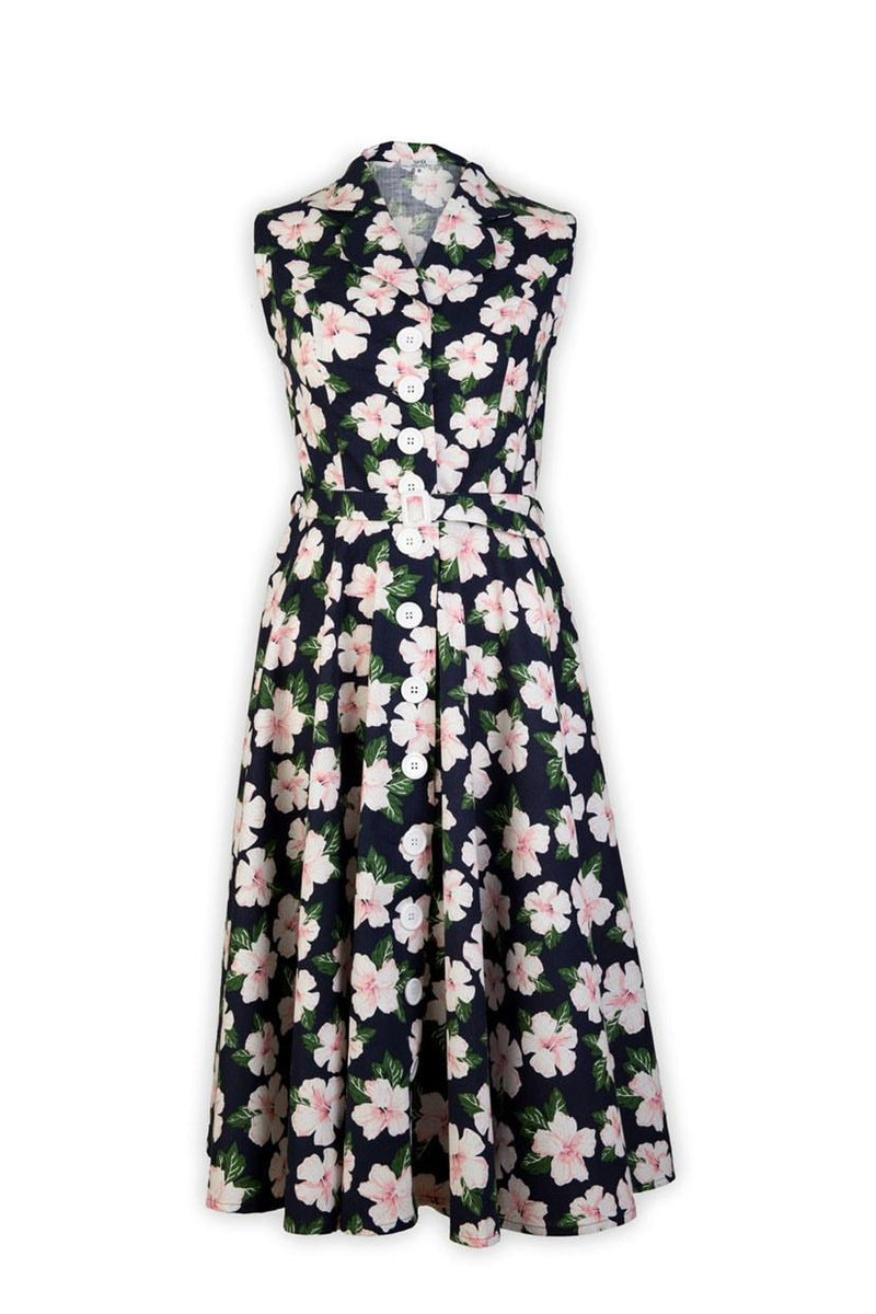 50's Sleeveless Hibiscus Dress